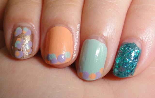 Dotted nails using mainly Peripera nail polishes