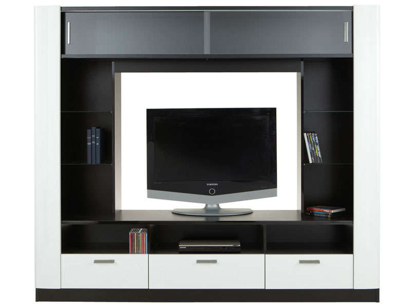 meuble tv laque noir et blanc torino. Black Bedroom Furniture Sets. Home Design Ideas