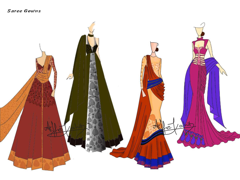 effie kahit design sketch: SAREE GOWNS