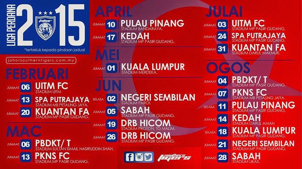 Jadual Penuh Perlawanan JDT II Liga Perdana 2015
