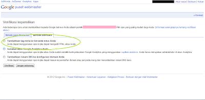 Cara Daftar Blog ke Google Webmaster Tools - Halaman Verifikasi Kepemilikan Metode Alternatif