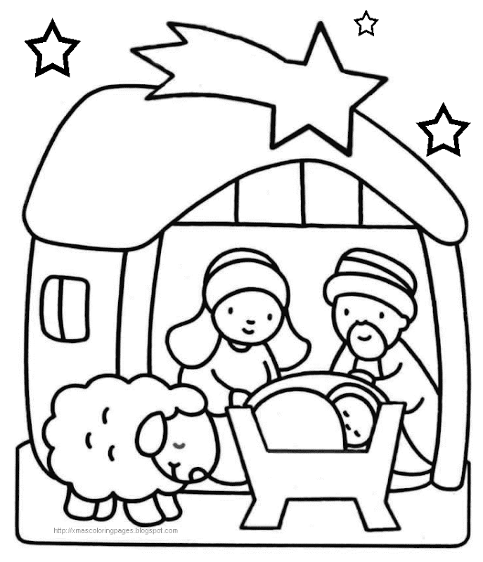 XMAS COLORING BABY JESUS NATIVITY COLORING PAGES title=
