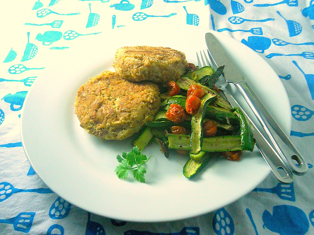 Tuna and celeriac cakes served with roasted zucchini and cherry tomatoes
