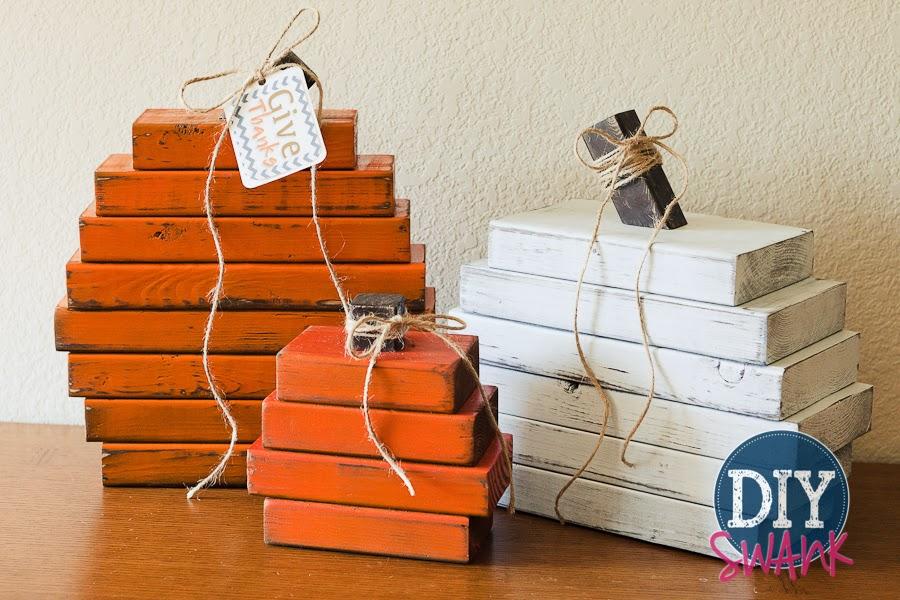 DIY Wood Stacked Pumpkins