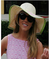 Monogrammed Derby Hat Floppy Lime Outline