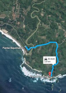 Rute ke Pantai Goa Cina Malang