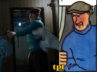vilão do filme As Aventuras de Tintim - comparação entre o desenho original e a versão de Spielberg e Jackson