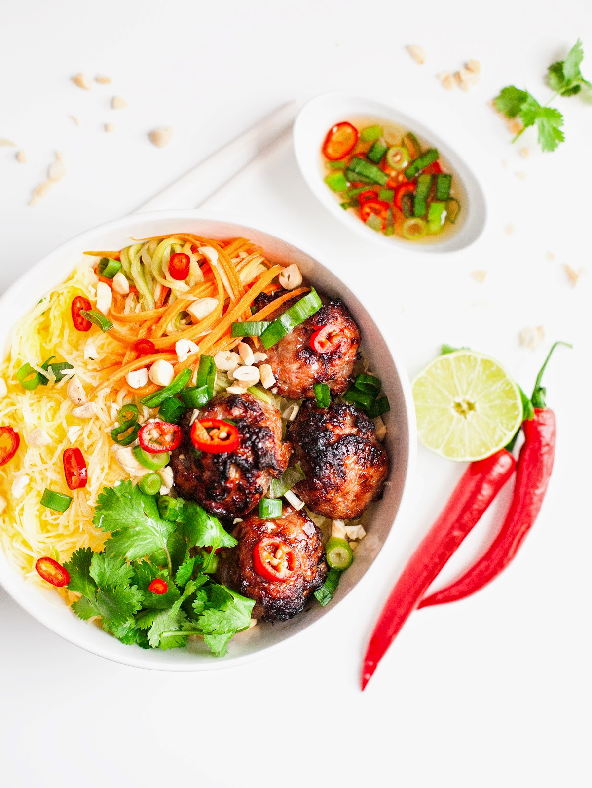 "Vietnamese Caramelized Pork Meatball ""Vermicelli"" Bowls | acalculatedwhisk.com"