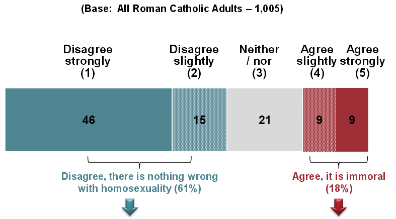 Disagree [with bishops], there is nothing wrong with homosexuality: 61%. Agree, it's immoral: 18%. 21% neither agree nor disagree.