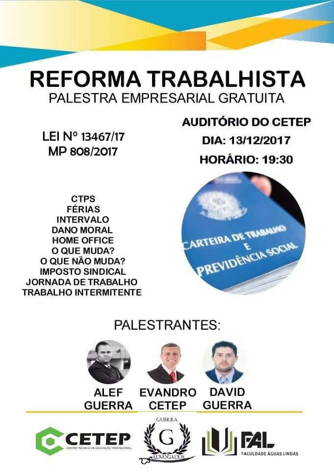Palestra sobre reforma trabalhista