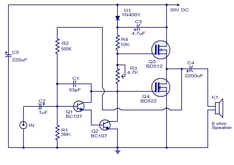 Wiring Schematic Diagram  10 Watts Mosfet Audio Amplifier