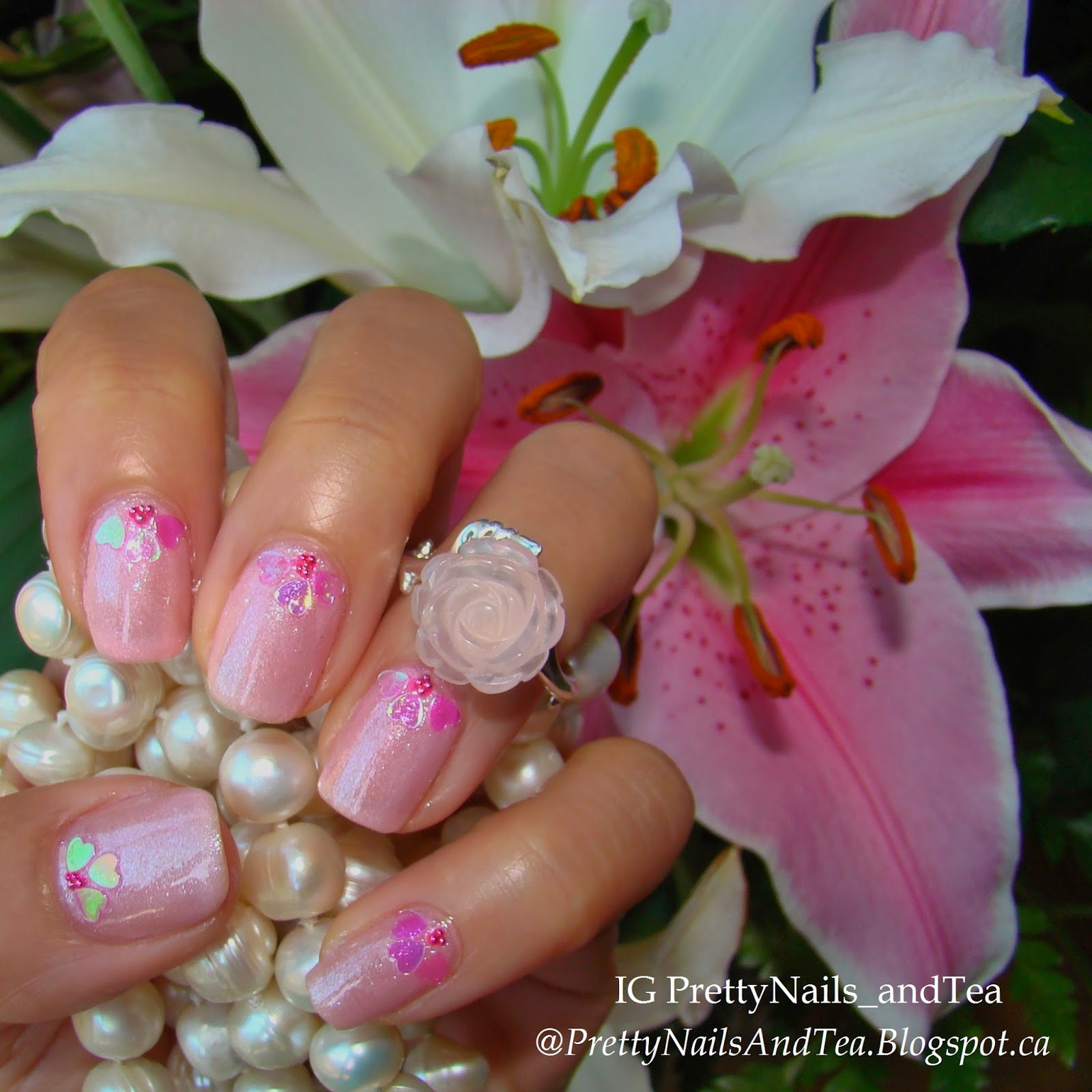 Audrey light pink with iridescent hearts
