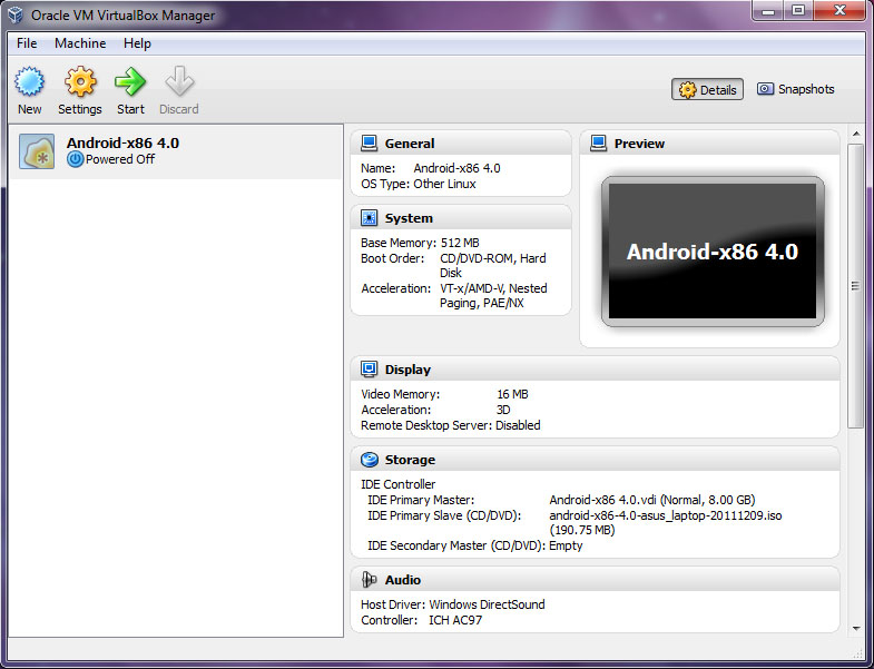 VirtualBox - Android-x86 4.0