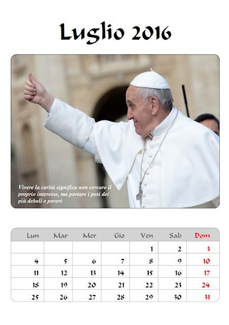 Calendario 2016 Papa Francesco - luglio - frasi celebri