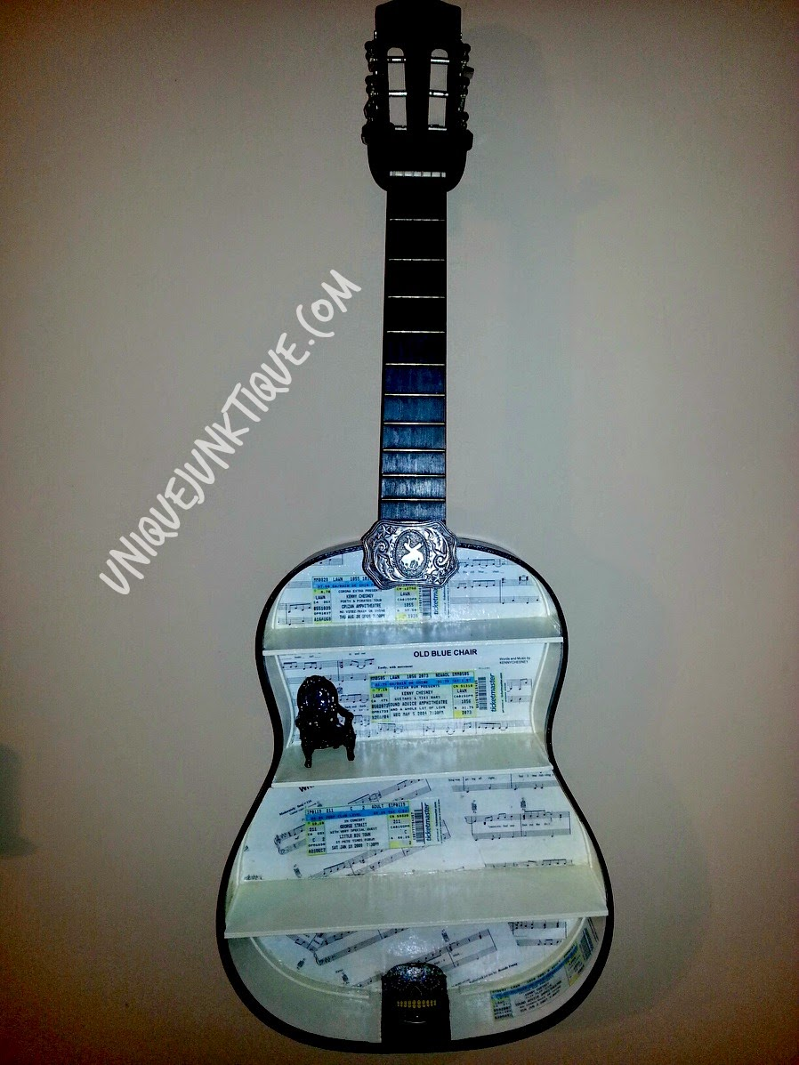 upcycled guitar shelf by unique junktique