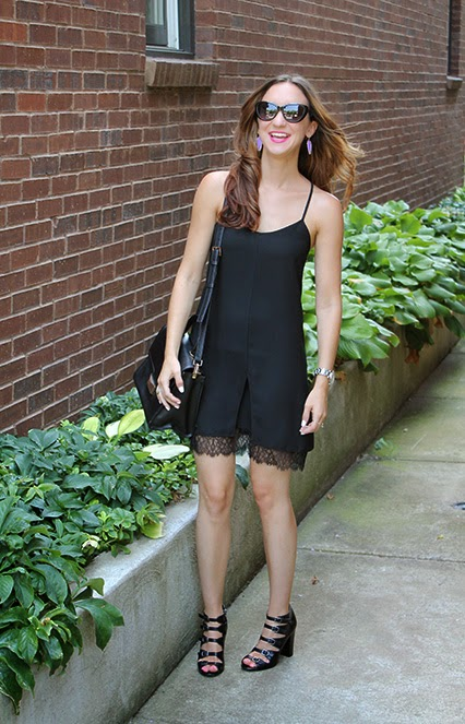 topshop shift dress, black dress shift dress, black summer dress, chinese laundry heels, strappy black heels, marc jacobs cat eye sunglasses, kendra scott earrings, hot pink lipstick, mac lipstick