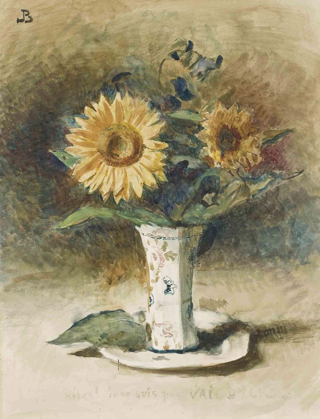 Leon  onnat Helas Je ne suis pas van dyck two sunflowers in a vase