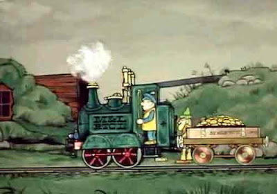 Firebox hot as a hundredweight of best coal Ivor the train engine steamed down to Grumbley town