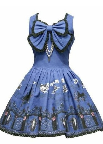 Gothic Printed Bow Corset Rococo Lolita Dress