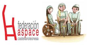 Logo de ASPACE Cy L y las tres guerreras en sillas de ruedas que se enfrentaron al gigante