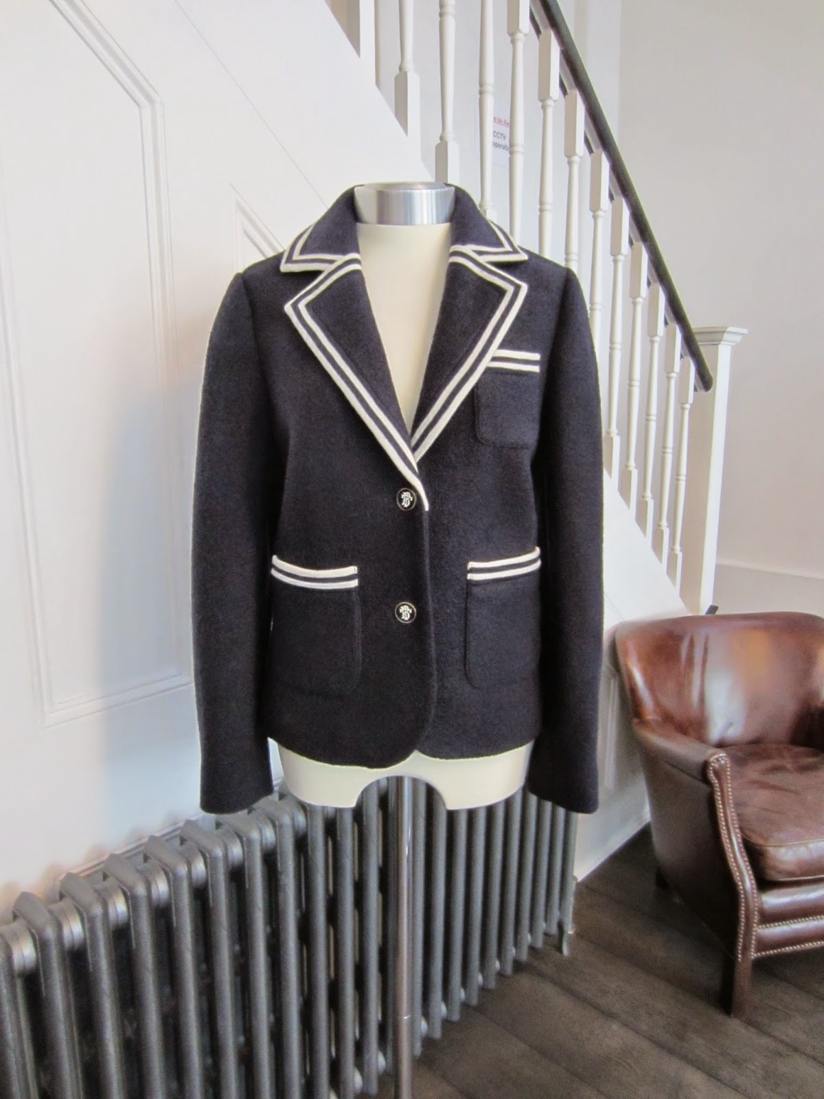 Tory Burch Navy Wool Amara Blazer with White Trim
