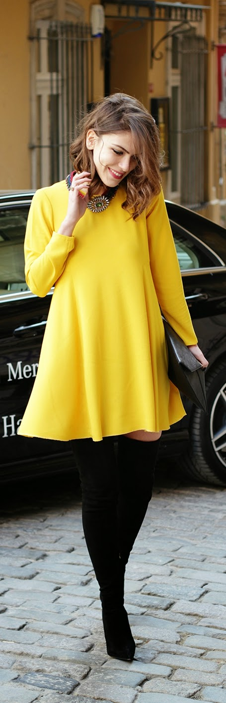 Pop Yellow Mini Dress with Over the Knee Boots   Chic Street Outfits