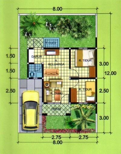 Gambar Denah Rumah Minimalis Type   Lantai Desainrumahnya Com
