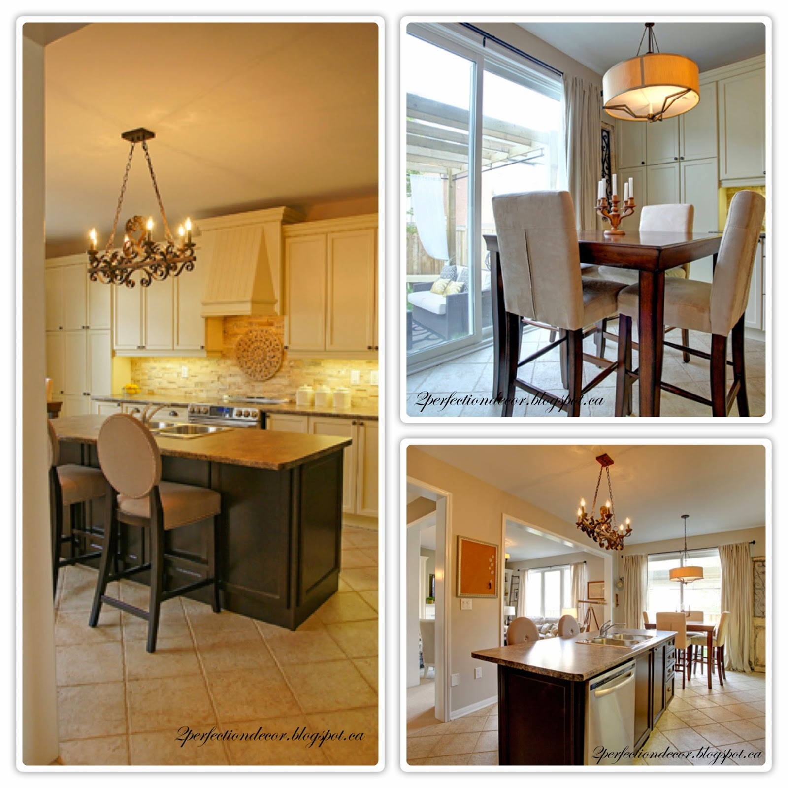 bronze pendant chandelier over island and pendant over kitchen table