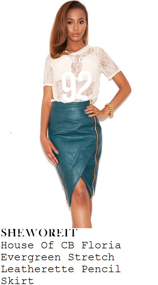 gemma-merna-dark-green-zip-detail-faux-leather-pencil-skirt