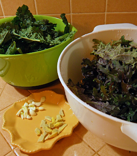 Two Bowls of Kale with Plate of Garlic and Ginger