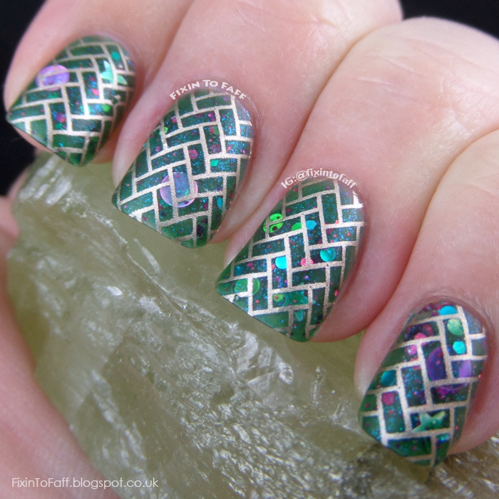 Green paver stone stamped nail art.