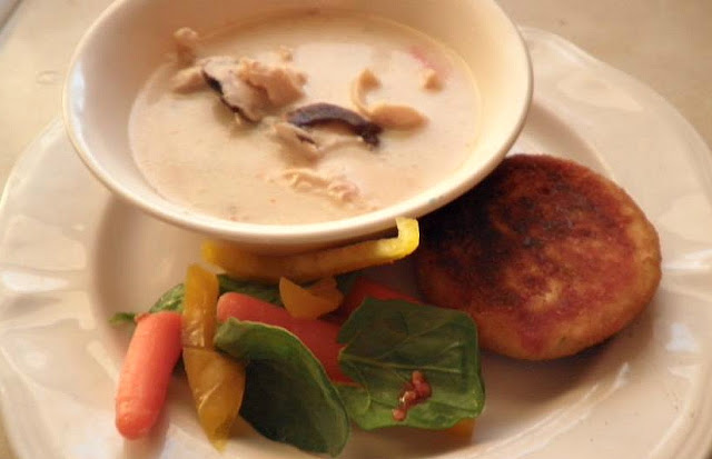 thai coconut soup Tom Ka Gai recipe Just Peachy, Darling