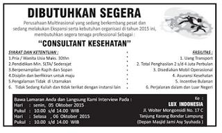 LUX Indonesia - Kesempatan Berkarir Sebagai CONSULTANT  KESEHATAN