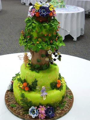 Tarta cumpleaños árbol y hadas