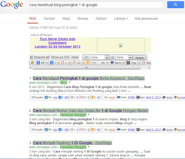 Cara blog menjadi Ranking 1 di Google