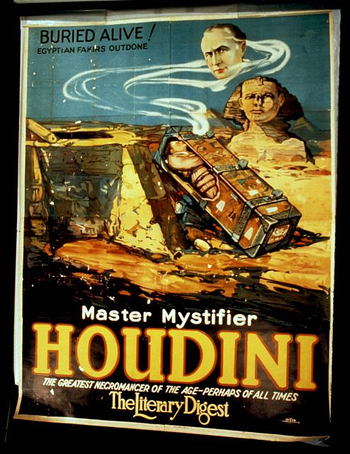 magic, circus, vintage, vintage posters, graphic design, retro prints, retro prints, classic posters, Buried Alive! Master Mystifier Houdini - Vintage Magic Poster