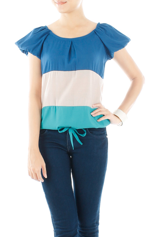 Turquoise Bonbon Layer Blouse with Ribbon