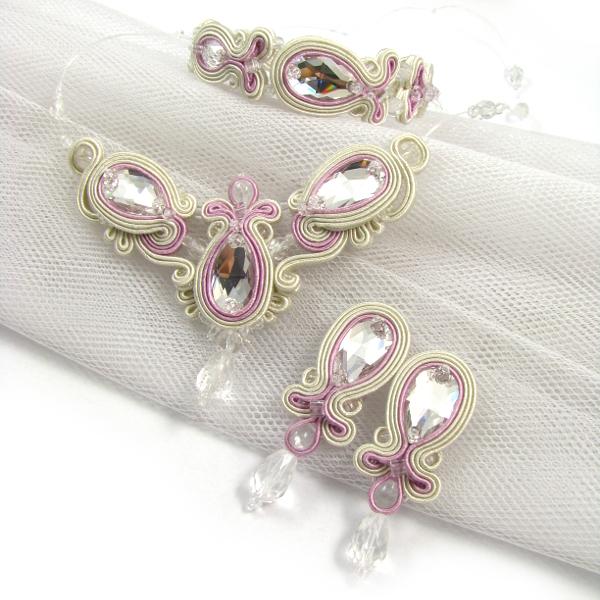 Biżuteria ślubna sutasz w kolorze pudrowego różu