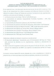 Acta de instalación grupo de trabajo para promover los derechos de las lesbianas