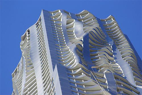 arriba vista de la terminacin de la fachada ideada por frank gehry el proyecto ha sido creado con catia