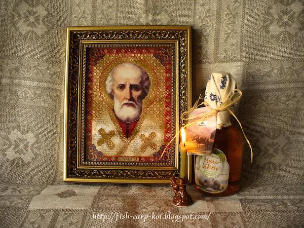 Вышитая бисером икона - Николай Чудотворец