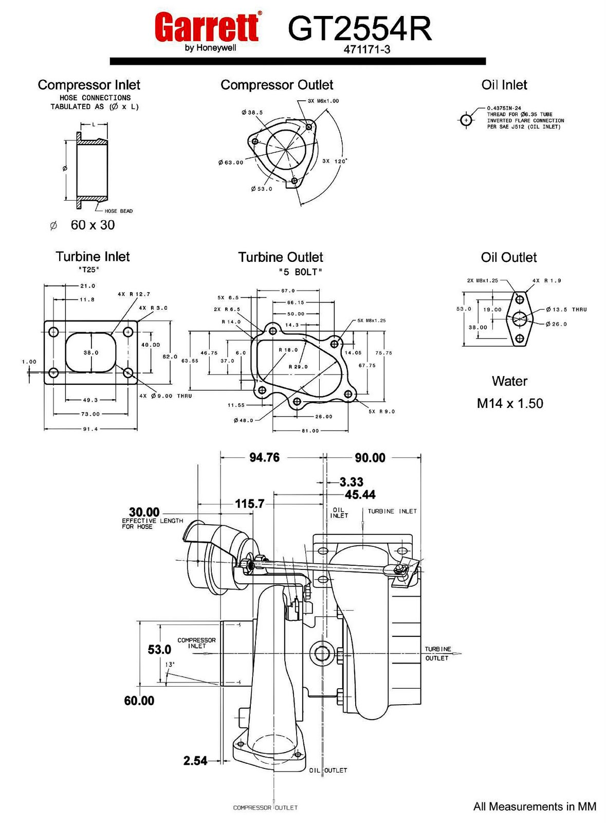 Garrett Gt25r Gt2554r 60 Trim 270 Hp Turbocharger Specs On This Diagram You Can See How The Impeller Connects Gt25 Turbo Dual Ball Bearing Measurements In Mm Flanges Diameter Flange Honeywell 1445x1961