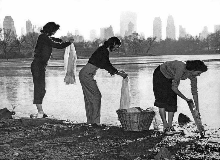 Three Young Women Wash Their Clothes In Central Park New