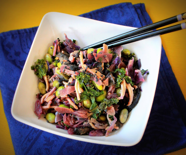 vegan gluten free cabbage brown rice noodle bowl