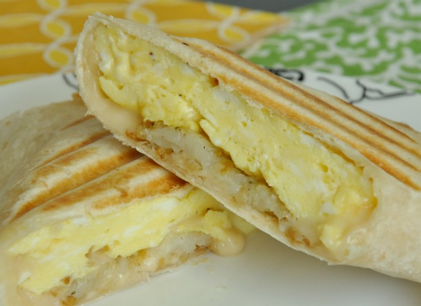 egg cheese hashbrown pressed breakfast wrap