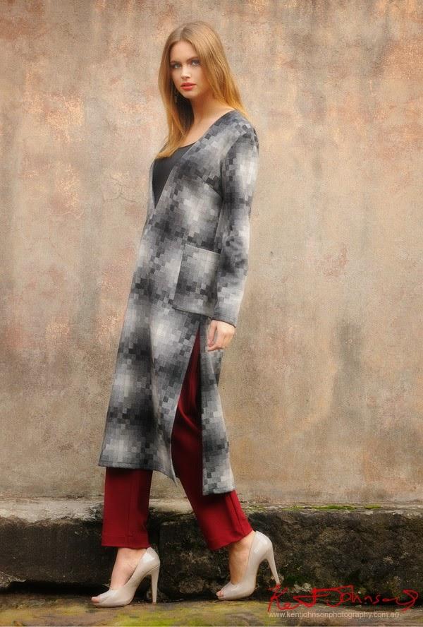 Check woollen fashion dress by Baraka photographed on location in Sydney Australia by Kent Johnson.