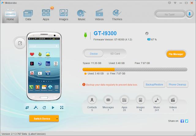 برنامج مجانى لادارة الهواتف الذكية من جهاز الكمبيوتر إدارة كاملة الاندرويد والايفون Moborobo V2.1.3.767 free