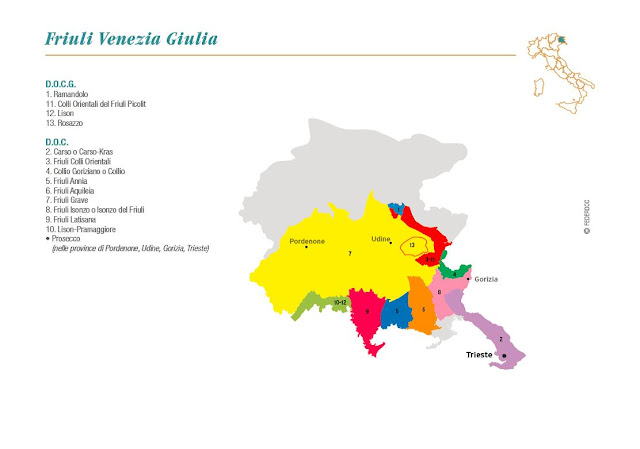 Map of Friuli-Venezia Giulia wine region Italy