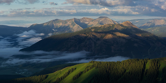 Sunrise on Mount Crested Butte and Whetstone Mountain from the Teocalli ridge