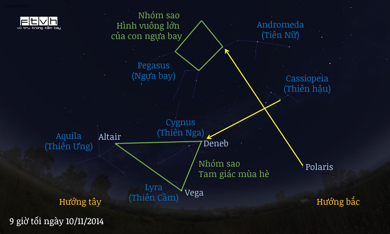 Minh họa bầu trời hướng tây bắc vào 9 giờ tối ngày 10/11/2014. Nhóm sao Tam giác mùa hè đang dần lặn xuống chân trời hướng tây và sau đó là nhóm sao Hình vuông lớn của con ngựa bay cũng sẽ lặn theo.